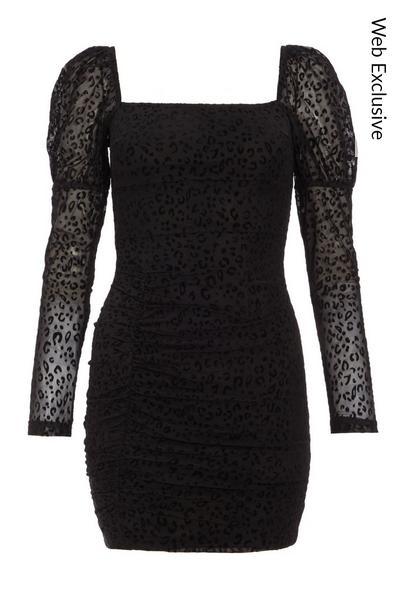 Black Leopard Print Mesh Bodycon Dress